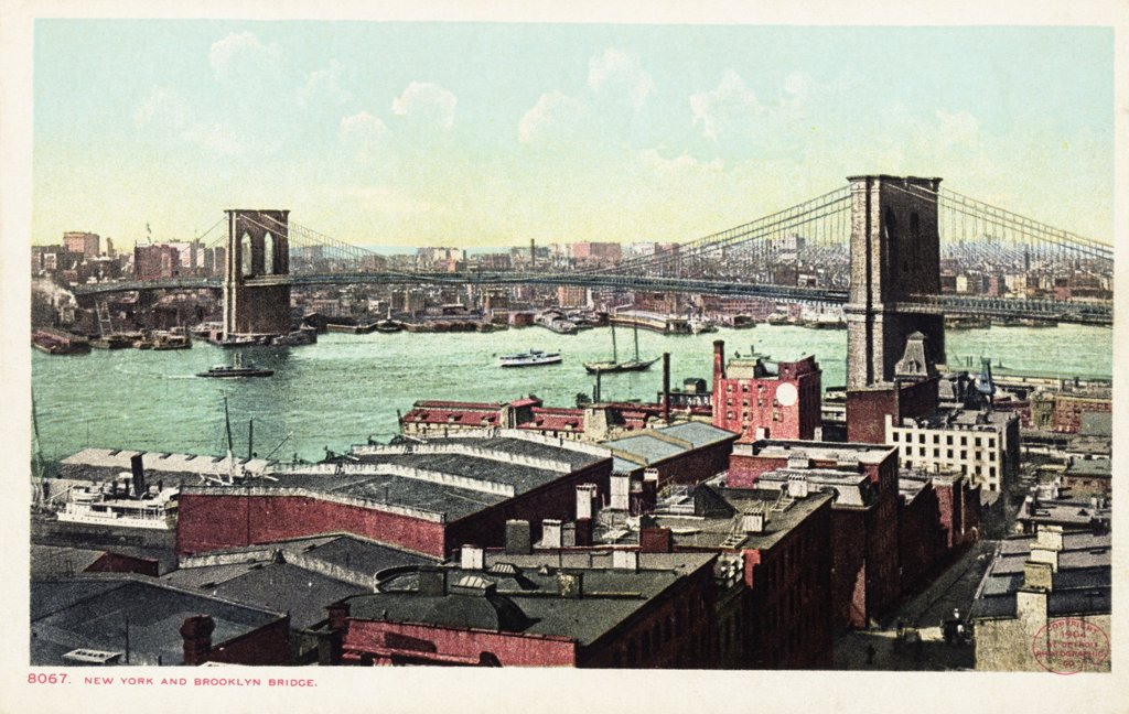 New York and Brooklyn Bridge Postcard. 1904, New York and Brooklyn Bridge Postcard  : Stock Photo
