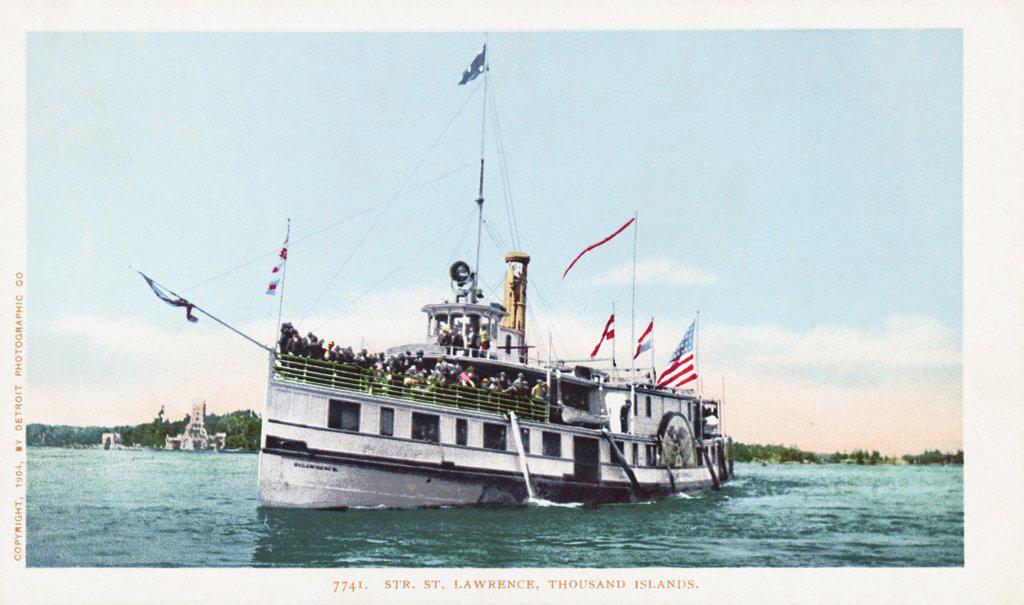 Str. St. Lawrence, Thousand Islands Postcard. 1904, Str. St. Lawrence, Thousand Islands Postcard  : Stock Photo