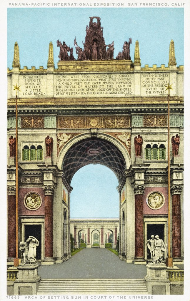 Stock Photo: 1899-12192 Arch of the Setting Sun in Court of the Universe Postcard. ca. 1915-1930, This image is from the Panama-Pacific International Exposition in San Francisco, California in 1915.