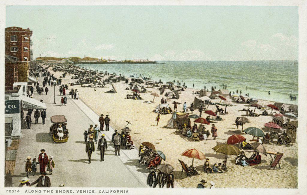 Along the Shore, Venice, California Postcard. ca. 1923, Along the Shore, Venice, California Postcard  : Stock Photo