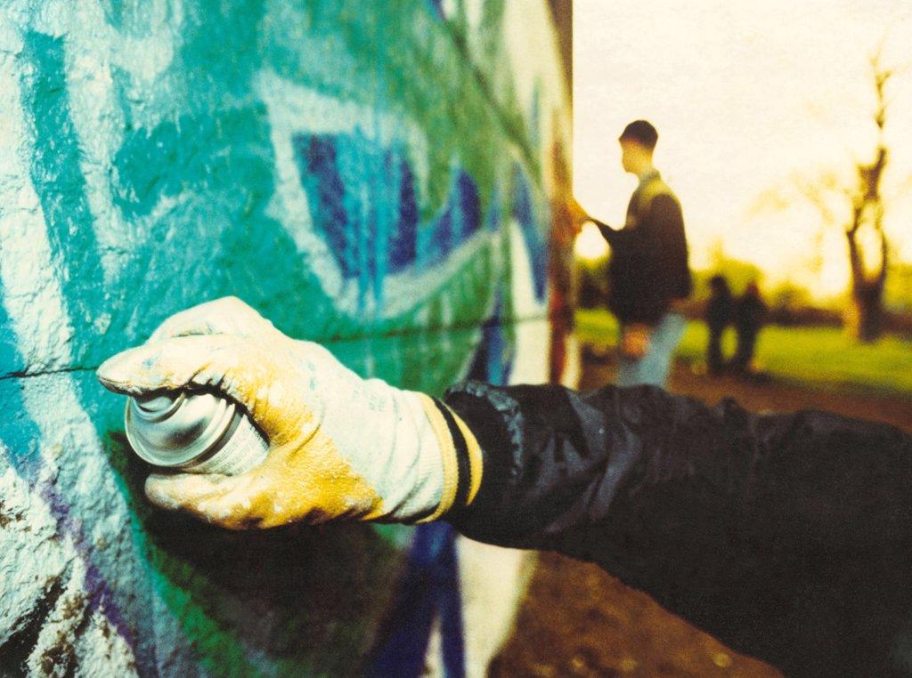 Graffiti artists, East Germany, 1990's.  : Stock Photo