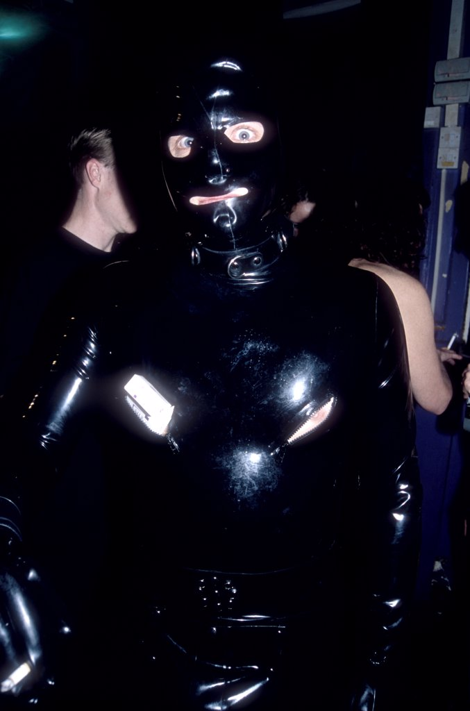 Man in a gimp suit, Torture Garden, London, UK, 2000's.  : Stock Photo