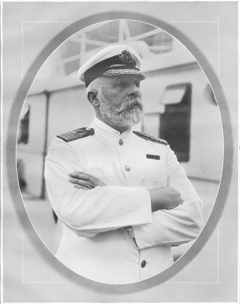 Captain of the Titanic. Captain of White Star Liner, RMS Titanic. Portrait of Commander Edward J. Smith, who died when Titanic sank on April 15th, 1912 after striking an iceberg off the coast of New Foundland during her maiden voyage from Southampton, England to New York, USA, with the loss of 1,522 passengers and crew. The steamship was built by Harland & Wolff in Belfast Ireland during 1910 - 1911. (Photo by Titanic Images/Universal Images Group) : Stock Photo