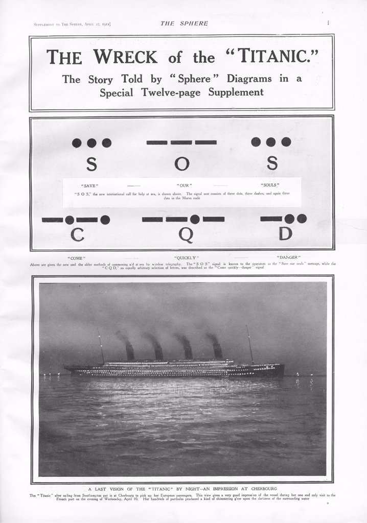 Titanic Story - The Sphere. RMS Titanic Sinks - Morse Code Signals - Illustration of the emergency morse code signals SOS (Save Our Souls) and CQD (Come Quickly Danger) sent by Wireless Operators Phillips and Harold Bride after the White Star Liner struck an iceberg. Illustration of the steam ship docked at Chebourg at night and which later sank on April 15th, 1912 after striking an iceberg during her maiden voyage from Southampton, England to New York, USA, with the loss of 1,522 passengers and : Stock Photo