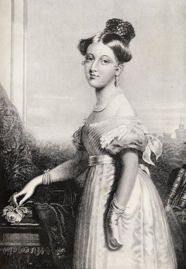 """Stock Photo: 1899-18369 Princess Victoria, 1819-1901 at the age of sixteen. From a drawing by Sir George Hayter. From the book """"""""V.R.I. Her Life and Empire"""""""" by The Marquis of Lorne, K.T. now his grace The Duke of Argyll."""