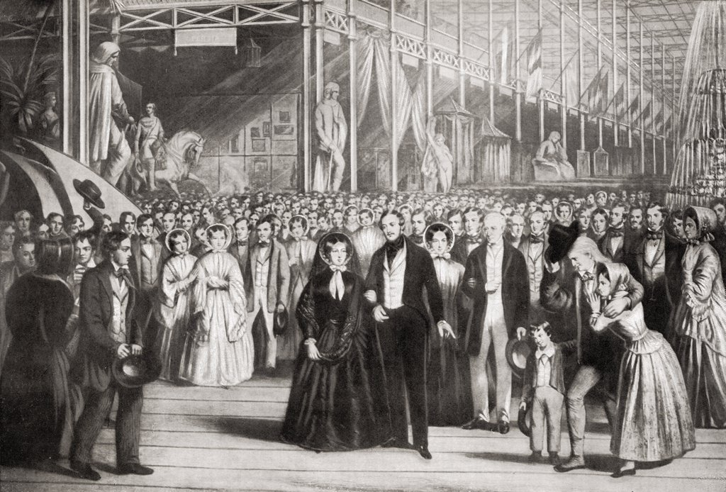 "Stock Photo: 1899-18378 Queen Victoria, 1819-1901 and The Prince Consort,1819-1861 opening The Great Exhibition, May 1, 1851. From the engraving after S.W. Reynolds. From the book """"V.R.I. Her Life and Empire"""" by The Marquis of Lorne, K.T. now his grace The Duke of Argyll."