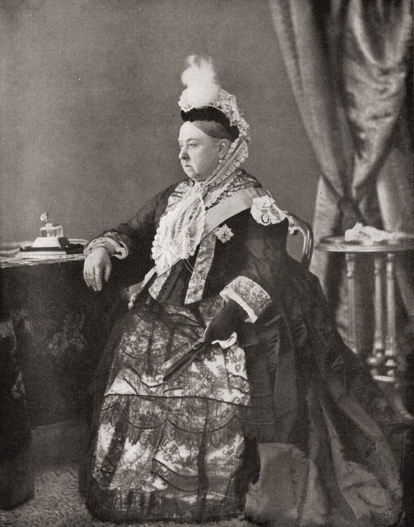 "Queen Victoria, 1819-1901, in the dress worn by her at the jubilee service, 1887. From the book """"V.R.I. Her Life and Empire"""" by The Marquis of Lorne, K.T. now his grace The Duke of Argyll. : Stock Photo"