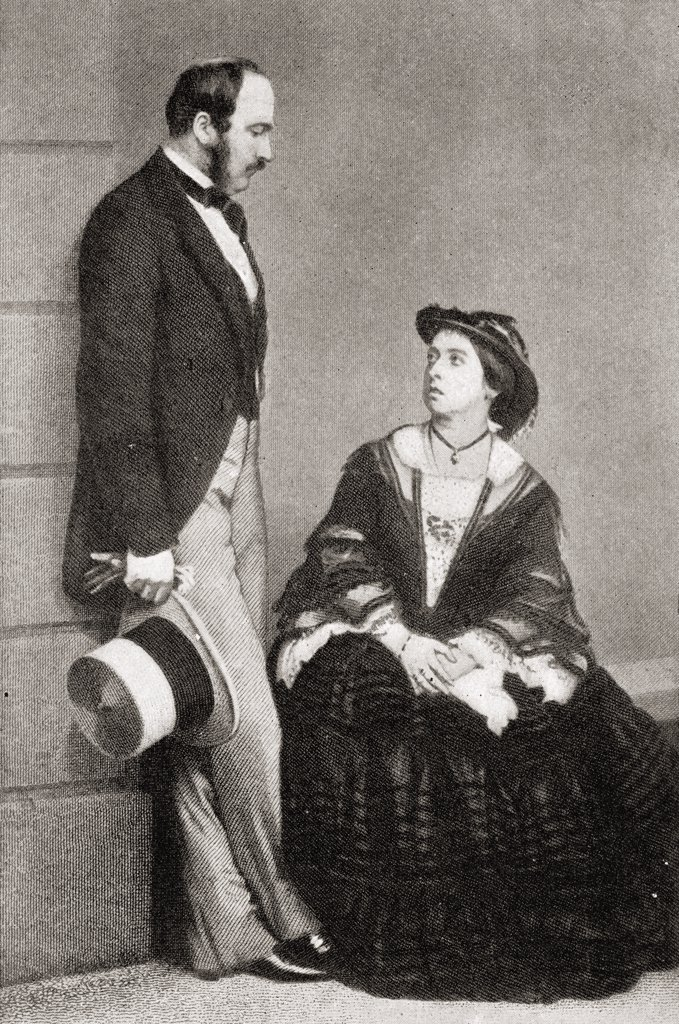 "Queen Victoria, 1819-1901, with H.R.H. The Prince Consort, 1819-1861, in 1860. From the book """"V.R.I. Her Life and Empire"""" by The Marquis of Lorne, K.T. now his grace The Duke of Argyll. : Stock Photo"