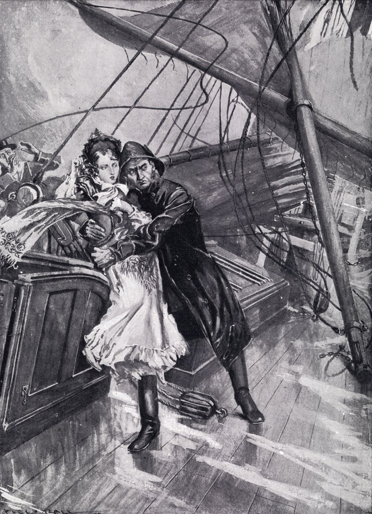 "Stock Photo: 1899-18388 Princess Victoria saved from a falling mast by the pilot of the yacht """"Emerald"""" in 1833. From the book """"V.R.I. Her Life and Empire"""" by The Marquis of Lorne, K.T. now his grace The Duke of Argyll."