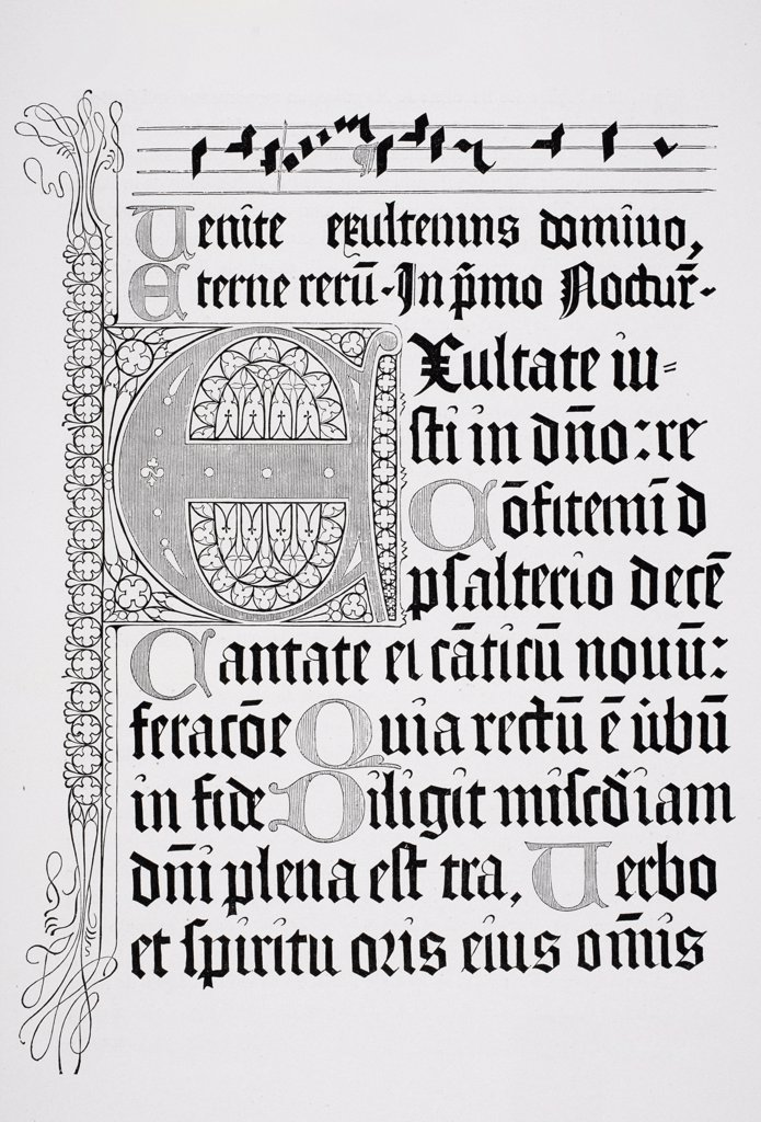 Copy of a page from a Psalter of 1459 printed in Mainz by Johann Fust and Petrus Schoiffer : Stock Photo