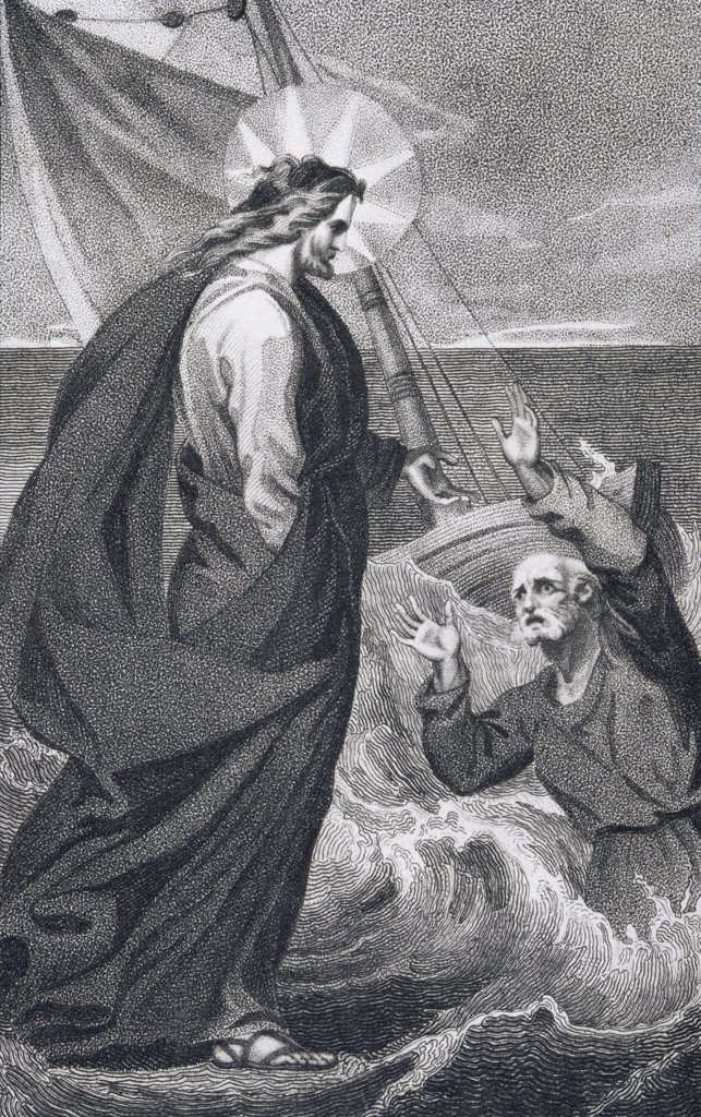 Christ Reproaching Peter from The History and Life of Our Blessed Lord and Saviour Jesus Christ by Reverend J. Milner, published by B. Crosby, 1808 : Stock Photo