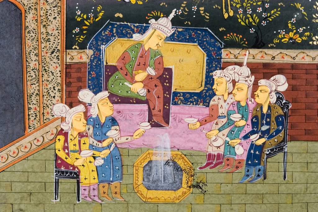 Detail from painting from 17th century Persian manuscript Hunters and favourites drinking with noble or king : Stock Photo