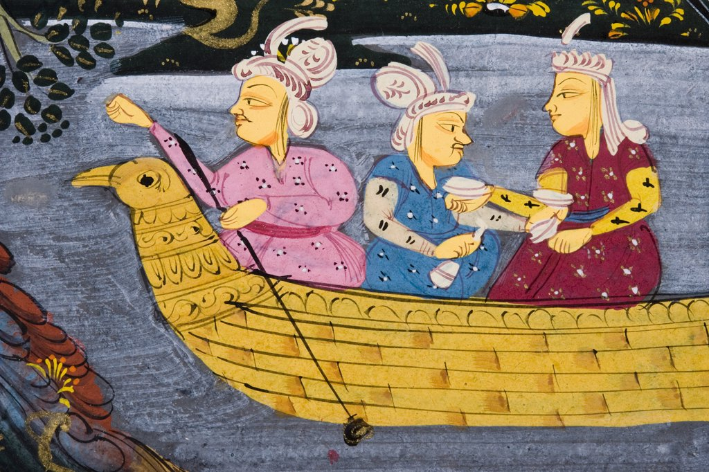 Detail from painting from 17th century Persian manuscript Men and woman in boat on river or lake Man fishing from boat : Stock Photo