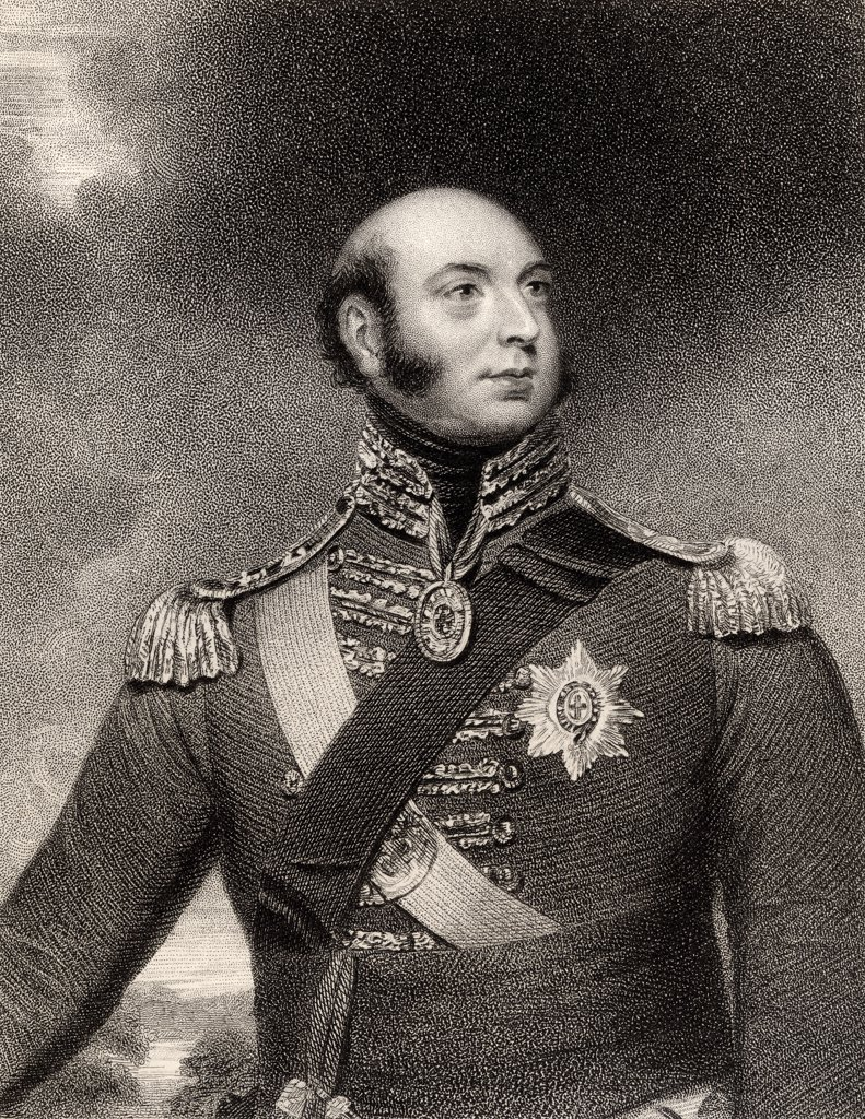 Prince Edward Augustus Duke of Kent and Strathearn 1767 to 1820 Son of King George III and father of Queen Victoria Engraved by E Scriven after Sir W Beechey From the book National Portrait Gallery volume II published c 1835 : Stock Photo