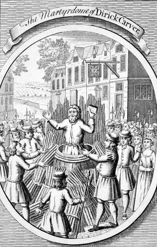 The Martyrdom of Dirick Carver 1515? to 1555 at Lewes in 1555 from The Burning of the Martyrs 1741 : Stock Photo