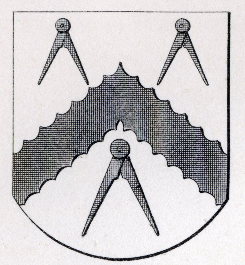 Arms of Masons Carpenters London Stow 1633 from the book The History of Freemasonry Volume II Published by Thomas C. Jack London 1883 : Stock Photo