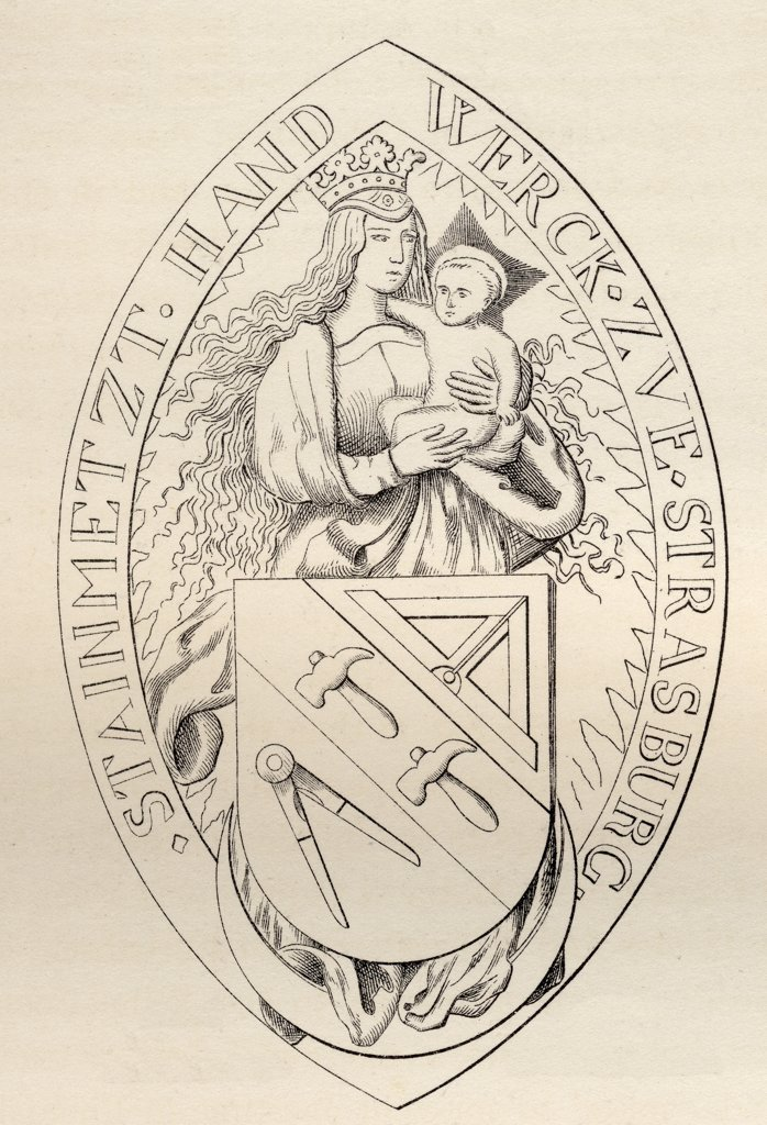 Stock Photo: 1899-18929 Seal of the Masons of Strasburg AD 1524 from the book The History of Freemasonry Volume II Published by Thomas C. Jack London 1883