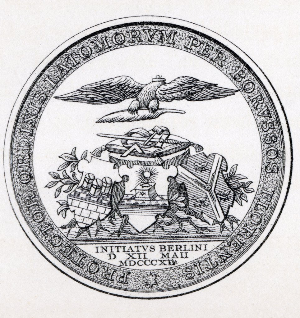 Masonic Seal Engraving from the book The History of Freemasonry Volume III Published by Thomas C. Jack London 1883 : Stock Photo