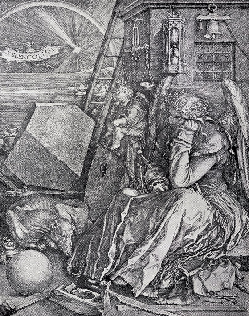 Melancholy Engraved by Albrecht Durer from the book The Freemason by Eugen Lennhoff published 1932 : Stock Photo