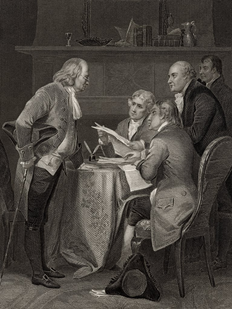 Stock Photo: 1899-19013 The Committee of Five drafting Declaration of Independence From left Franklin Jefferson Adams Livingston Sherman After Alonzo Chappel from Life and Times of Washington Volume 1 published 1857