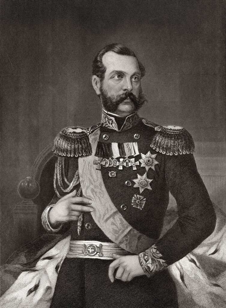 Emperor Alexander 2nd of Russia 1818 to 1881 19th century engraving after Alonzo Chappel : Stock Photo