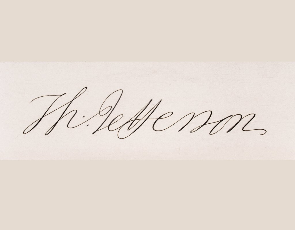Stock Photo: 1899-19031 Signature of Thomas Jefferson 1743-1826. Third president of the United States. Primary author of Declaration of Independence