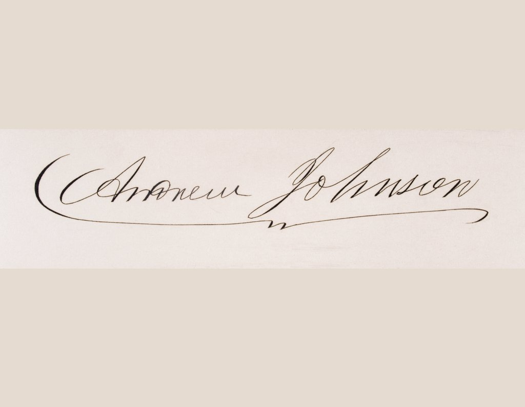 Signature of Andrew Johnson 1808 to 1875 17th president of the United States 1865 to 69 : Stock Photo