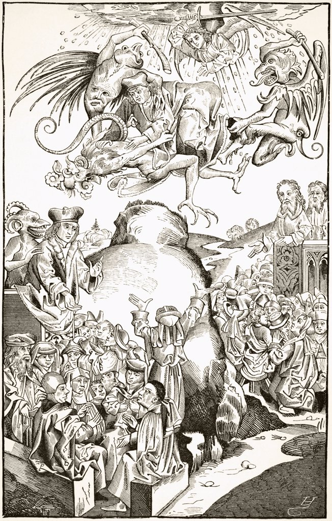 The Reign of Antichrist. After an engraving by Michael Volgemuth in Liber Chronicarum dated 1493. From Science and Literature in The Middle Ages by Paul Lacroix published London 1878 : Stock Photo