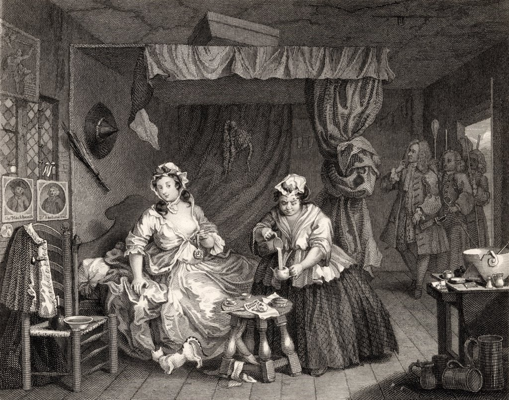 Stock Photo: 1899-19174 The Harlots Progress Apprehended by a magistrate From the original picture by Hogarth from The Works of Hogarth published London 1833