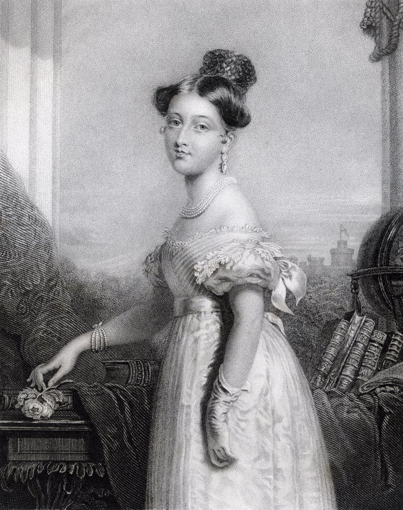 Princess Alexandrina Victoria of Saxe-Coburg aged 18 1819-1901 Later Queen Victoria Engraved by J Cochran after G Hayter From the book The National Portrait Gallery Volume IV published c1820 : Stock Photo