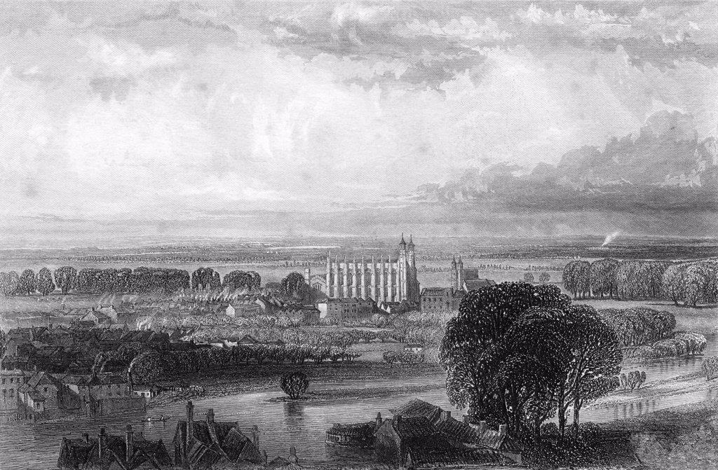 Eton seen from Windsor Castle terrace From Memoirs of Eminent Etonians by Sir Edward Creasy published London 1876 : Stock Photo