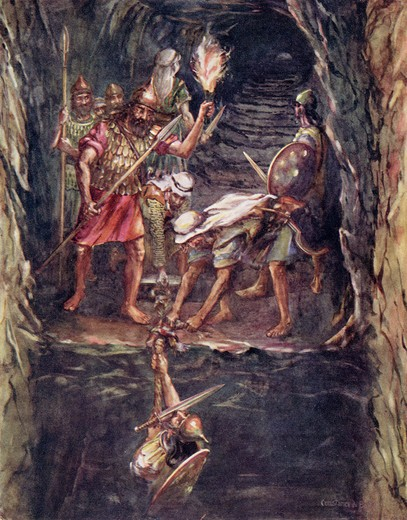 Stock Photo: 1899-19488 The Storming of Jerusalem Joabs Forlorn Hope in the Watershaft Illustration by Constance N Baikie from the book The Ancient East and its Story by James Baikie published c.1920