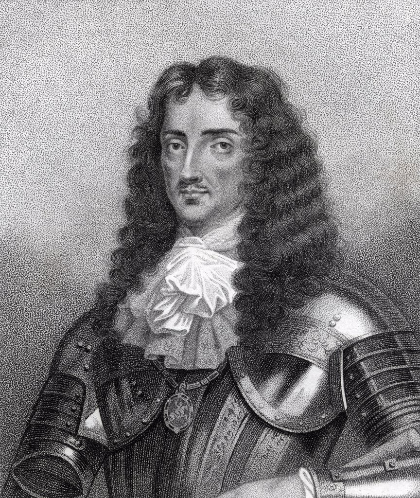 Charles II aka The Merry Monarch 1630-1685 King of Great Britain and Ireland Engraved by Bocquet from the book A Catalogue of the Royal and Noble Authors published 1806 : Stock Photo