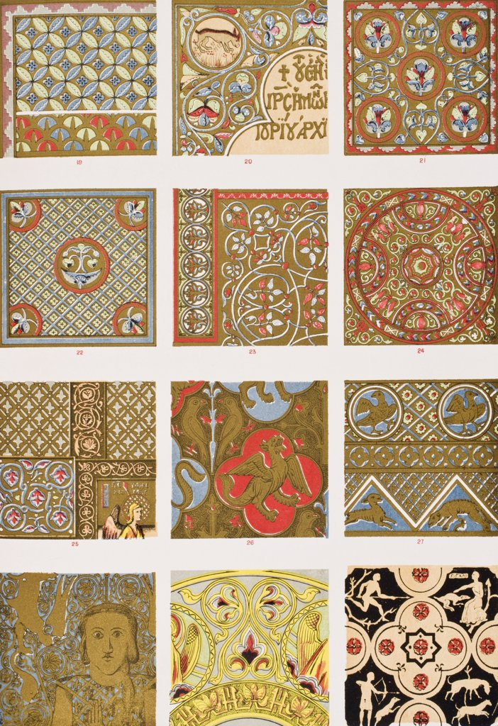 Byzantine No 2 bis Plate XXVIX bis From The Grammar of Ornament by Owen Jones published by Day & Son London 1865 : Stock Photo