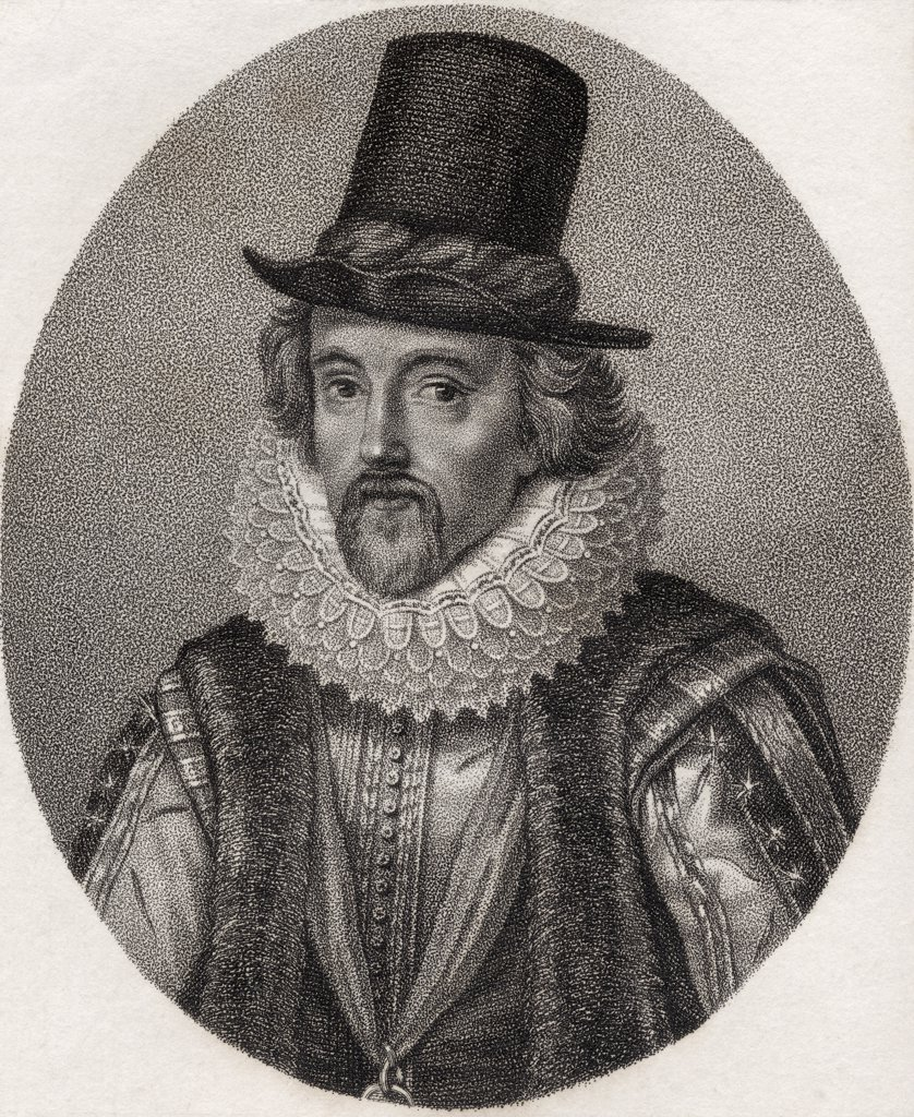 Sir Francis Bacon Viscount St Alban 1561-1626 English lawyer statesman and philosopher Engraved by Geremia from the book A catalogue of Royal and Noble Authors Volume II published 1806 : Stock Photo