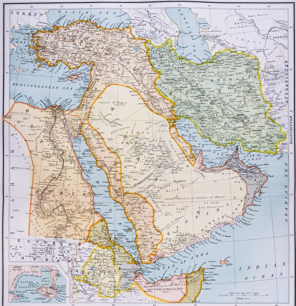Stock Photo: 1899-19704 Map of Turkey Middle East Horn of Africa and Persian Gulf in 1890s From The Citizen's Atlas of the World published London circa 1899