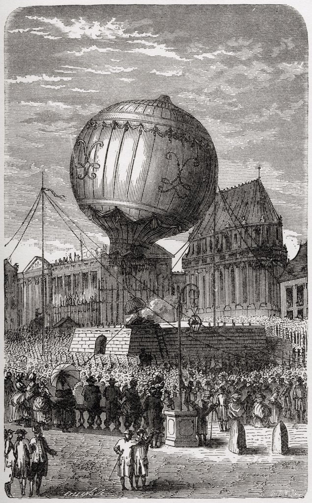 Stock Photo: 1899-19752 Balloon ascent outside the Palace of Versailles Paris 19th September 1783 From the book Wondeful Balloon Ascents or The Conquest of the Skies published c 1870