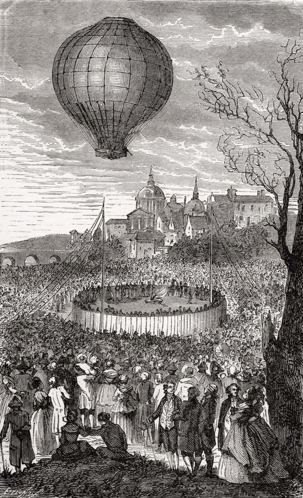 Stock Photo: 1899-19760 The First Aerial Voyage Paris France 21 October 1783 From the book Wondeful Balloon Ascents or The Conquest of the Skies published c 1870