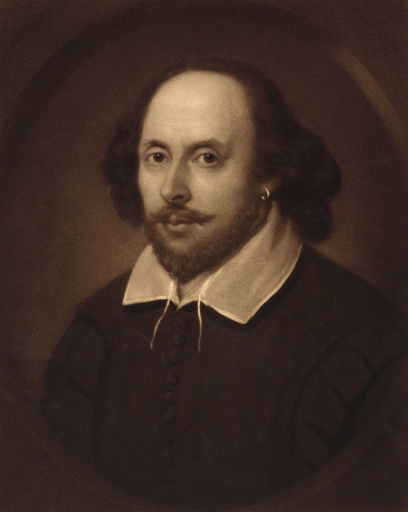 William Shakespeare 1564 to 1616 English poet and dramatist engraved by Samuel Cousins after a painting attributed to Joseph Taylor : Stock Photo