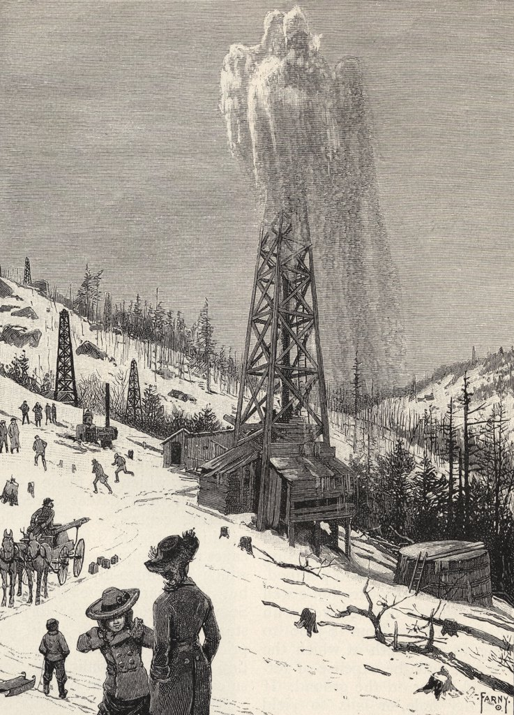 Stock Photo: 1899-19862 Shooting an Oil Well From the book The Century Illustrated Monthly Magazine May to October 1883