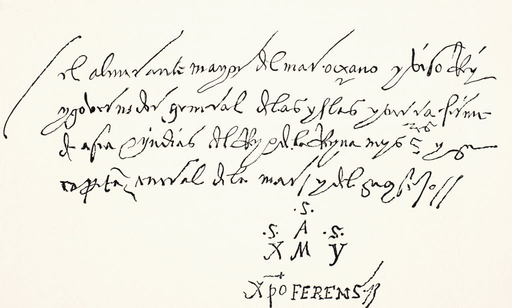 Signature at foot of an autographed letter of Christopher Columbus, addressed from Seville to the noble Lords of the Office of St. George, and dated A dos dias de Abril 1502. From Science and Literature in The Middle Ages by Paul Lacroix published London 1878 : Stock Photo