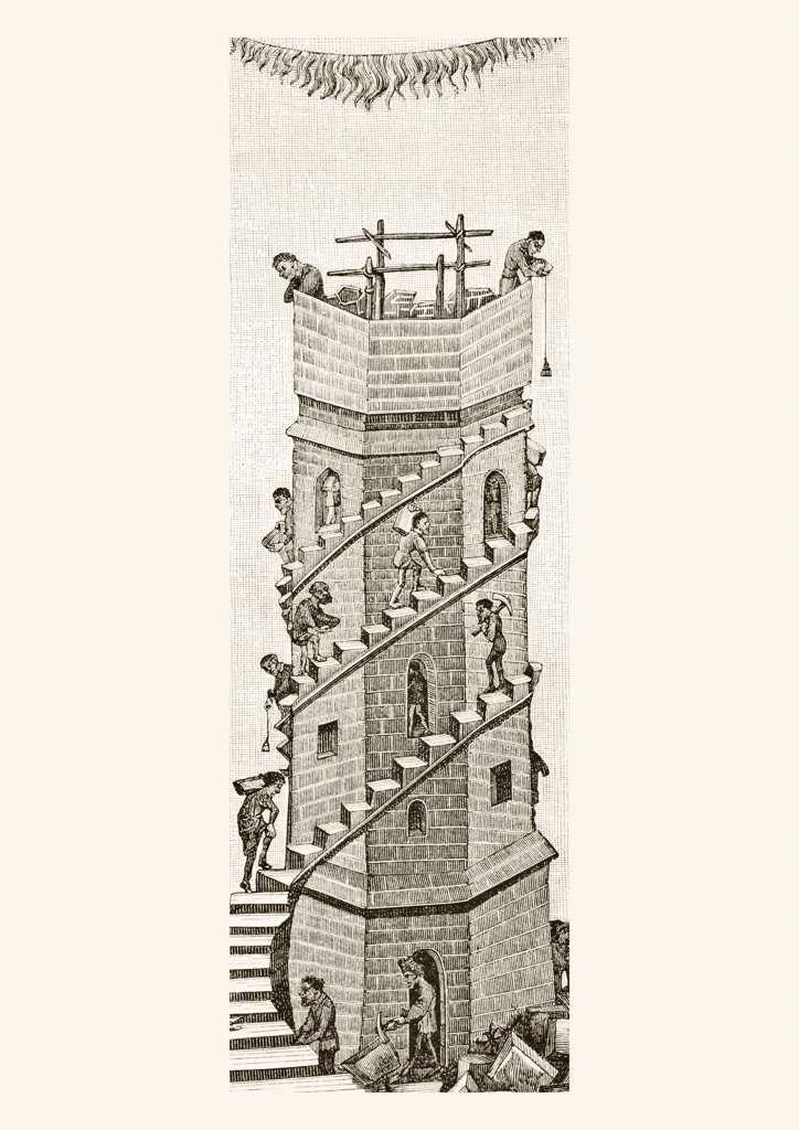 Stock Photo: 1899-19916 Construction of the Tower of Babel, in the Valley of Sanaar, by the descendants of Noah. After a miniature from a manuscript of the 15th century. From Science and Literature in The Middle Ages by Paul Lacroix published London 1878