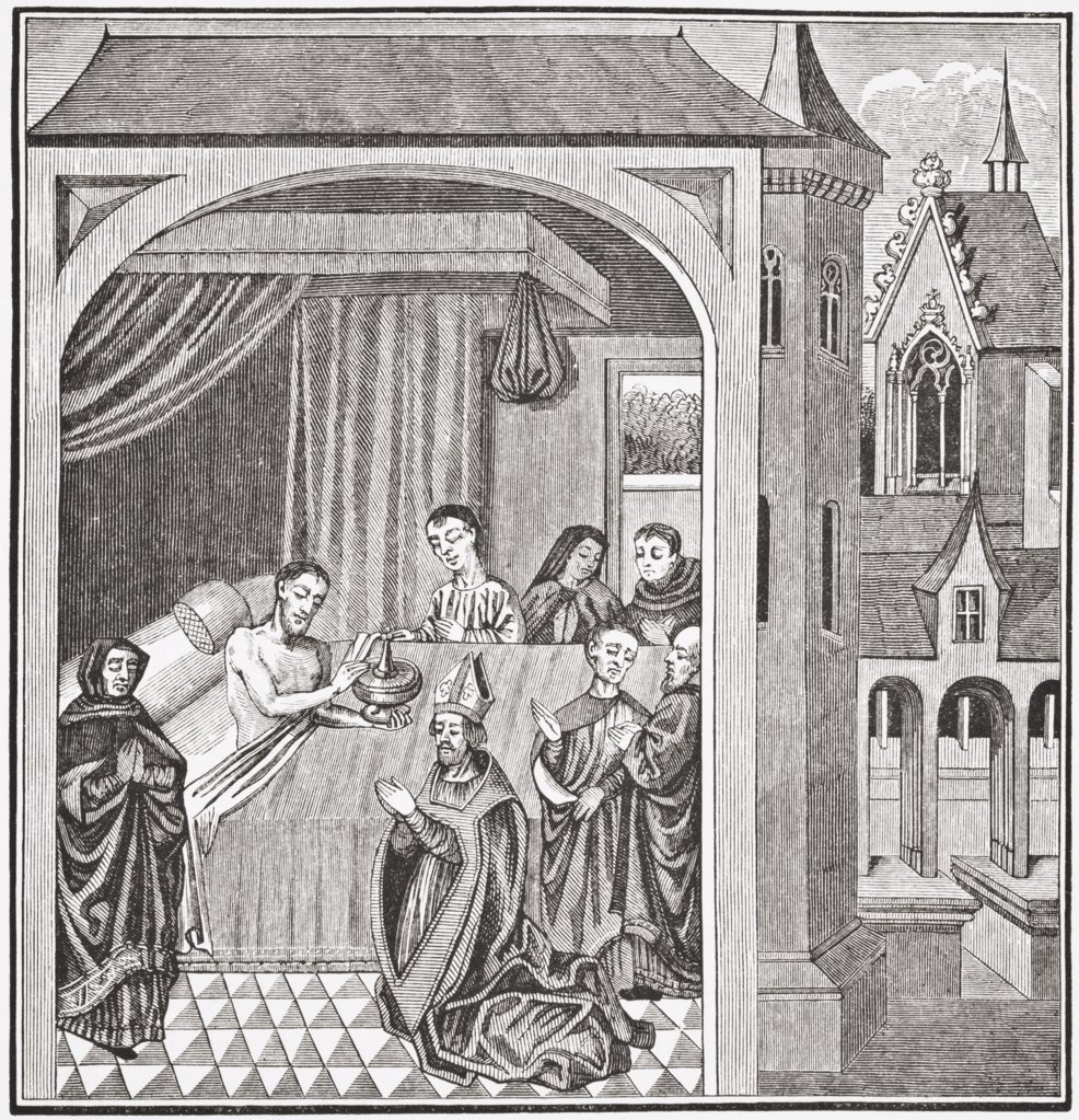 Stock Photo: 1899-19926 Death of Joseph of Arimathea. After a miniature from the 15th century manuscript History of Saint Grail. From Science and Literature in The Middle Ages by Paul Lacroix published London 1878