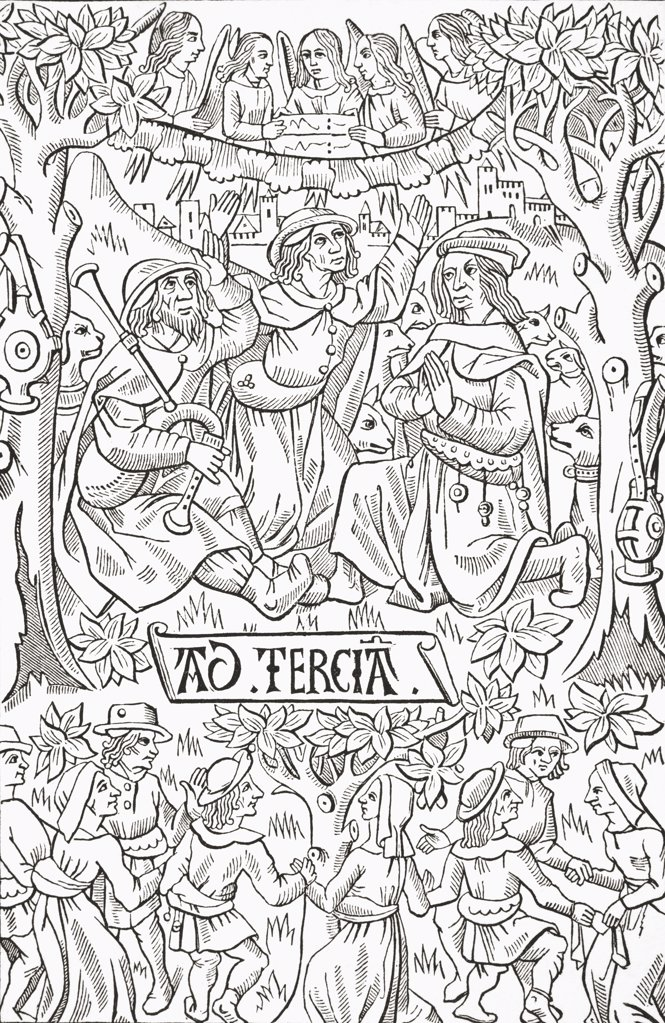 The Shepherds celebrating the birth of the Messiah with hymns and dancing. Facsimile of a late fifteenth century wood engraving from a Livre d'Heures. From Science and Literature in The Middle Ages by Paul Lacroix published London 1878 : Stock Photo