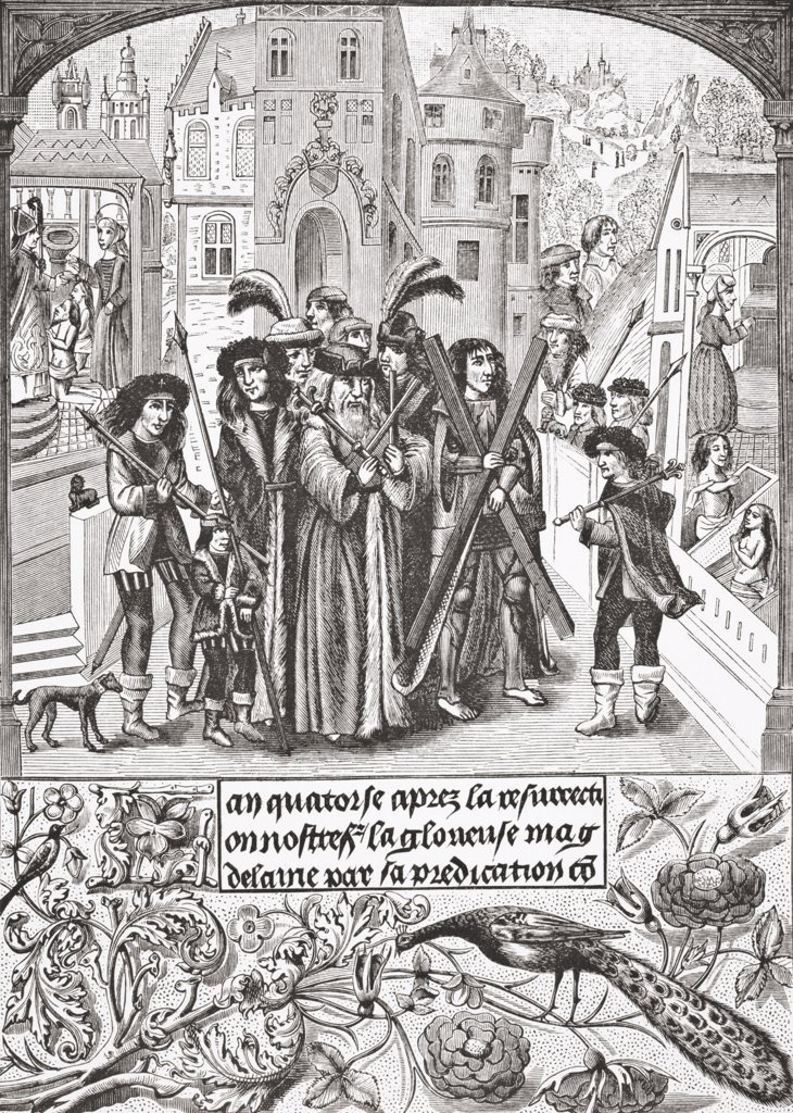 Fabled origin of the Burgundy Cross. Etienne, a legendary king of Burgundy, makes a pilgrimage to St. Victor of Marseilles, to whom he has carried the Cross of St. Andrew, out of gratitude to St. Mary Magdalene, who had raised him and his mother from the dead. This cross afterwards figured in the shield of the House of Burgundy. After a miniature in the 15th century manuscript Chroniques de Bourgogne. From Science and Literature in The Middle Ages by Paul Lacroix published London 1878 : Stock Photo