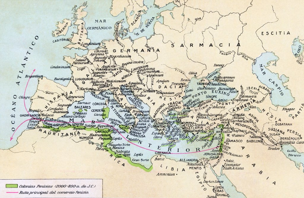 Phoenician colonies and area of influence in the Mediterranean 200 to 850 B.C. Green shows colonized areas. Red shows principal routes of Phoenician commerce. From Historia de las Naciones published circa 1921. : Stock Photo