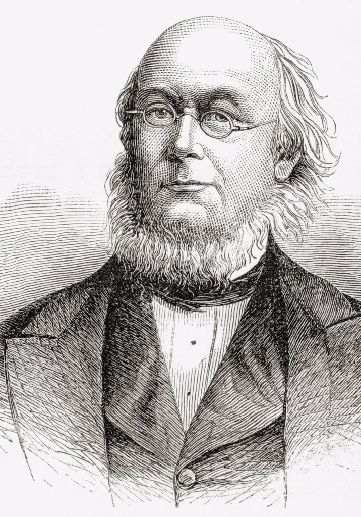 Stock Photo: 1899-20010 Horace Greeley 1811 to 1872. American editor, founder of the Liberal Republican Party, reformer and politician. From the book A Brief History of the United States published by A. S. Barnes and Company circa 1885.