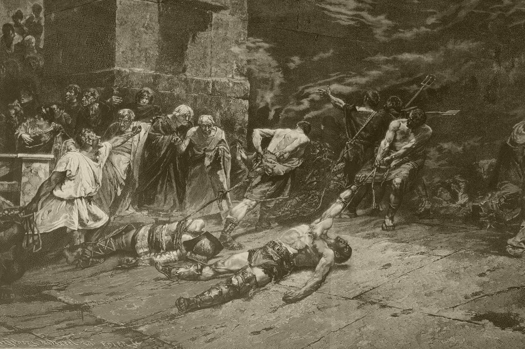 The Spoliarium. After a painting by Juan Luna. From Album Artistico published circa 1890. : Stock Photo