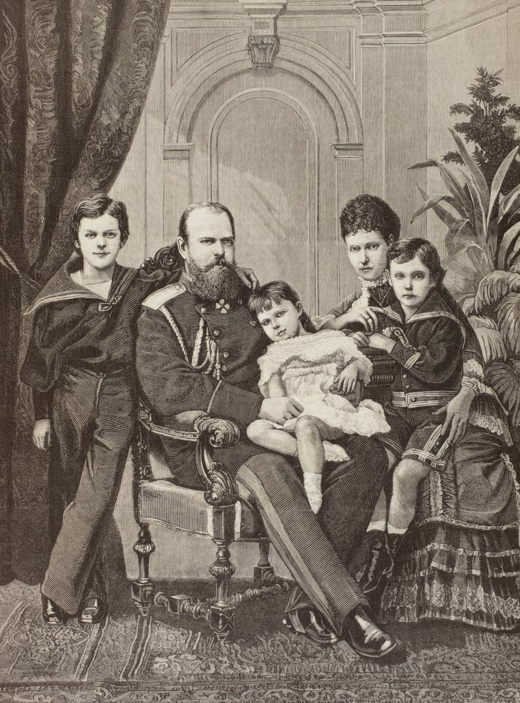 Stock Photo: 1899-20117 Alexander III of Russia and his family. From left to right: Grand Duke Nicholas Alexandrovitch, the future Nicholas II, Alexander III, Grand Duchess Xenia Alexandrovna, the Czarina Maria Feodorovna and Grand Duke George Alexandrovich. From La Ilustracion Espanola y Americana of 1881