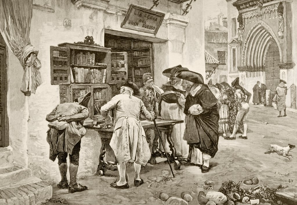 The Bibliophiles. A bookshop in Seville at the beginning of the 19th century. After a painting by Jimenez Aranda. From La Ilustracion Espanola y Americana of 1881 : Stock Photo